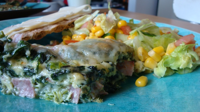 omelett med spenat och skinka